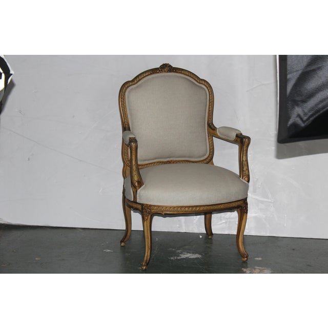 1950s Louis XV French Beige Arm Chair For Sale In Los Angeles - Image 6 of 6