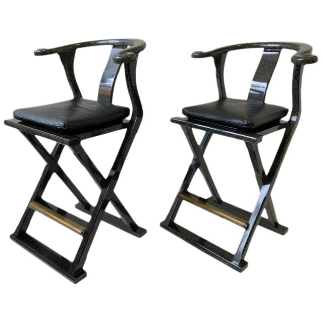 Asian Style Lacquered and Leather Barstools by Marge Carson - a Pair For Sale
