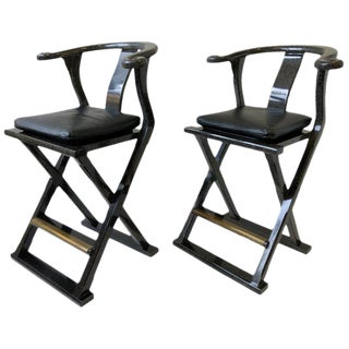 Pair of Lacquered and Leather Asia Style Barstools by Marge Carson For Sale