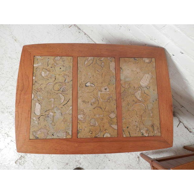 Marble Top End Tables With Tambour Doors - a Pair For Sale - Image 4 of 8