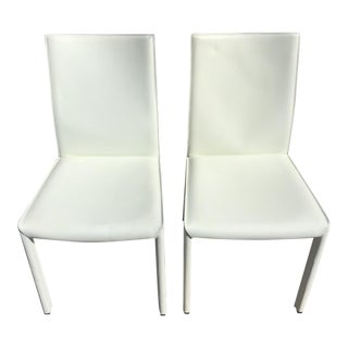 Italian White Leather High Back Chairs- A Pair For Sale