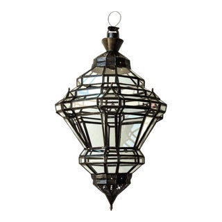 1980s Moorish Granada Moroccan Glass and Metal Lantern For Sale