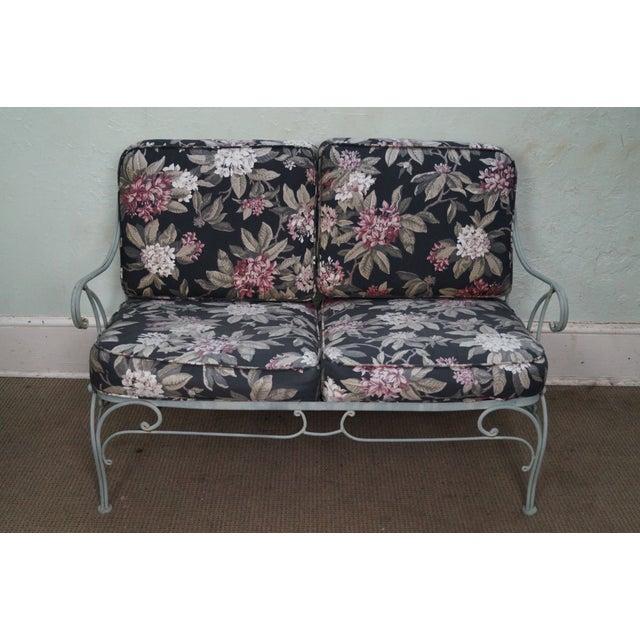 Custom Floral Cushion Iron Patio Settee - Image 10 of 10