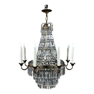 Antique French Louis XVI Sack of Pearls Crystal Chandelier For Sale