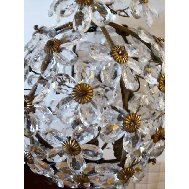 Maison Baguès Floral Crystal Ball Form Chandelier, 1920s For Sale In Miami - Image 6 of 12