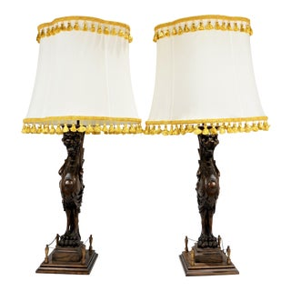 Late 19th Century Wood Carved Griffins Elements Lamps With Custom Shades - a Pair For Sale
