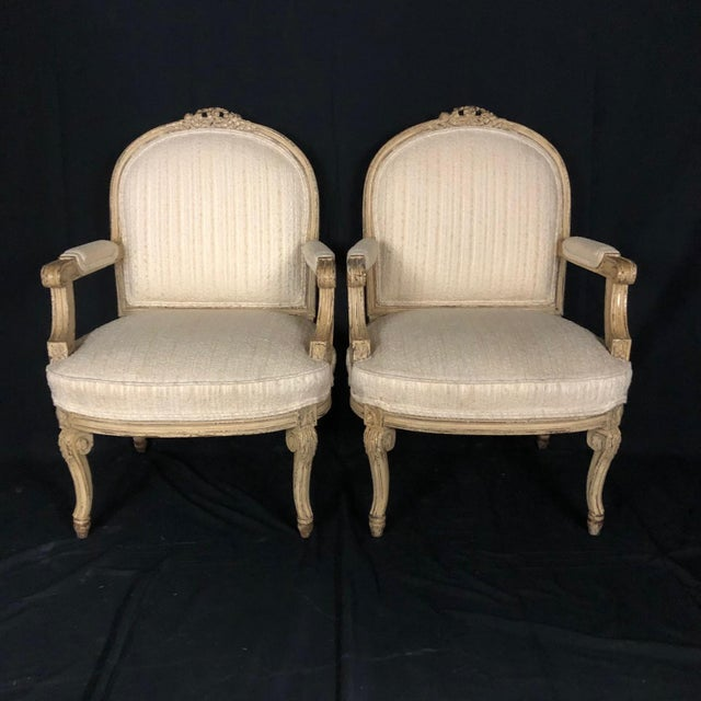 Louis XIV Neoclassical Style Cream Painted French Bergere Armchairs -A Pair For Sale - Image 13 of 13