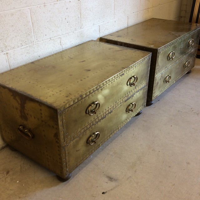 Sarreid Brass Chests Trunks- A Pair - Image 4 of 11