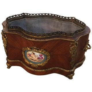 19th Century French Tulip Wood Jardiniere Planter With Liner For Sale