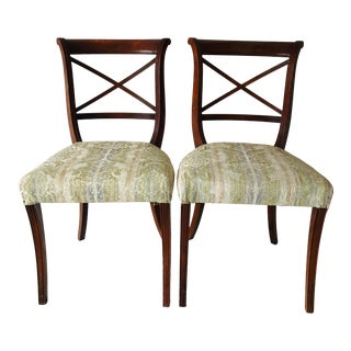 Hollywood Regency English Style Mahogany Side Chairs For Sale