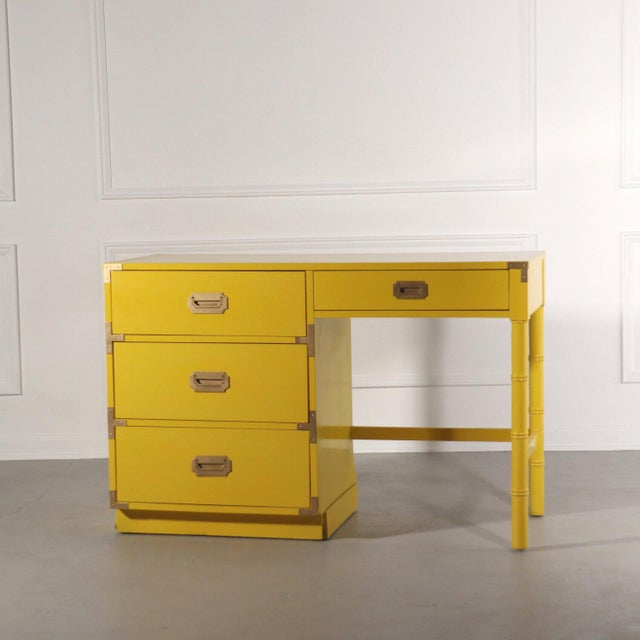 Campaign Lacquered Bright Yellow Campaign Desk For Sale - Image 3 of 10