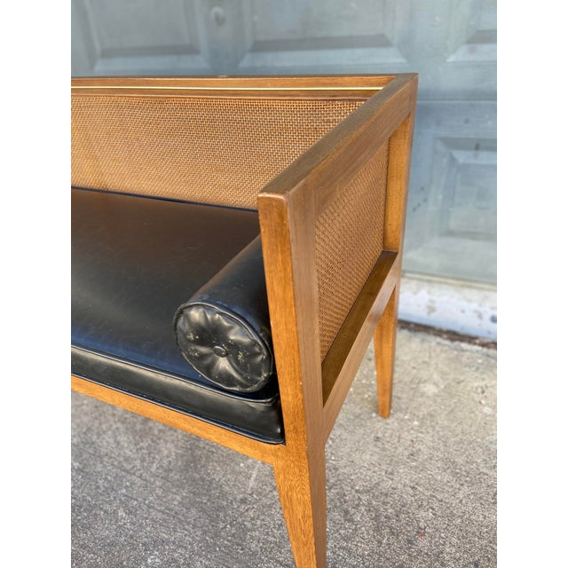 Danish Style Black Leather Bench For Sale In Tampa - Image 6 of 13