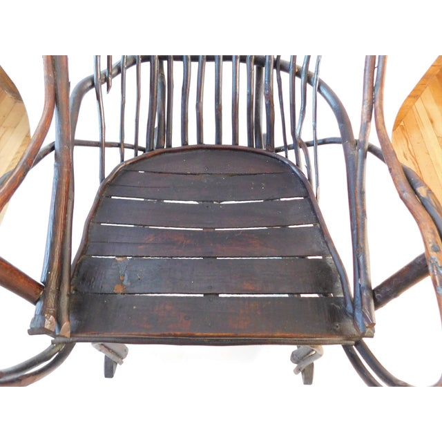 20th C. American Adirondack Twig Willow Rocking Chair For Sale - Image 4 of 13