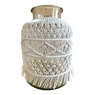 Macrame Covered Large Glass Vase For Sale