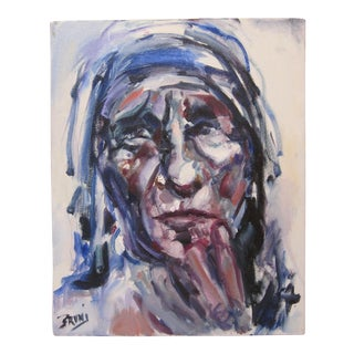 Bruni Sablan Mother Theresa Portrait Original Oil Painting Private Collection Piece For Sale