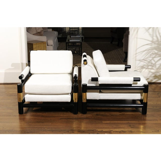 Modern Breathtaking Pair of Modern Floating Pagoda Club Chairs by Baker, Circa 1980 For Sale - Image 3 of 13
