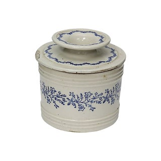 Antique French Stoneware Butter Keeper For Sale