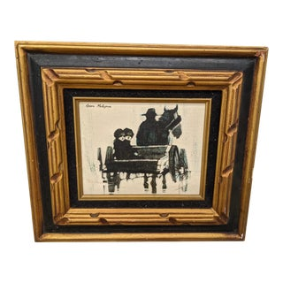 1970s Vintage Kevin McAlpin Children in a Horse Drawn Carriage Painting For Sale