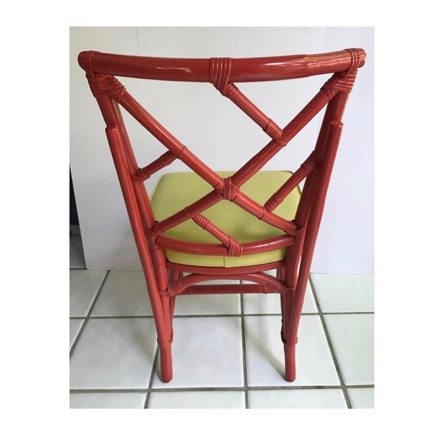 Mid-Century Modern Chinese Chippendale Dia Bamboo Red Side Chairs - Set of 4 For Sale - Image 4 of 7