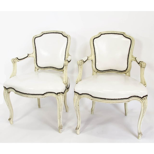 Mid-20th Century Boho Chic Carved Wood and White Leather Arm Chairs - a Pair - Image 13 of 13