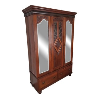 19th Century Walnut Wardrobe, Glass Inset Carved Walnut Vines Fretwork With Bevel Mirror Doors, Knocks Down for Easy Shipping and Installation For Sale