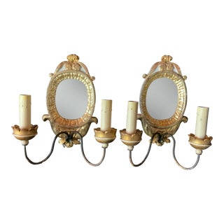 Vintage Italian Carved Wood and White Gold Leaf Sconces - a Pair For Sale
