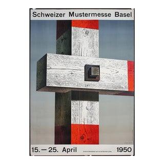 """Herbert Leupin Original 1950 """"Schweizer Mustermesse Basel"""" Fence Post Poster"""