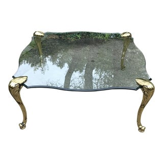Hollywood Regency Mason Charles Attributed Bronze and Glass Coffee Table For Sale
