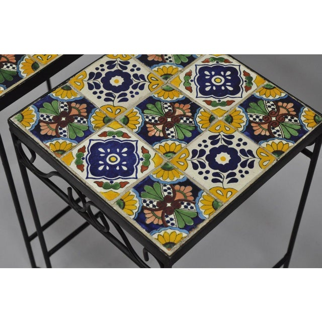 California Style 9 Tile Yellow Blue Green Wrought Iron Side Tables - a Pair - Image 6 of 11