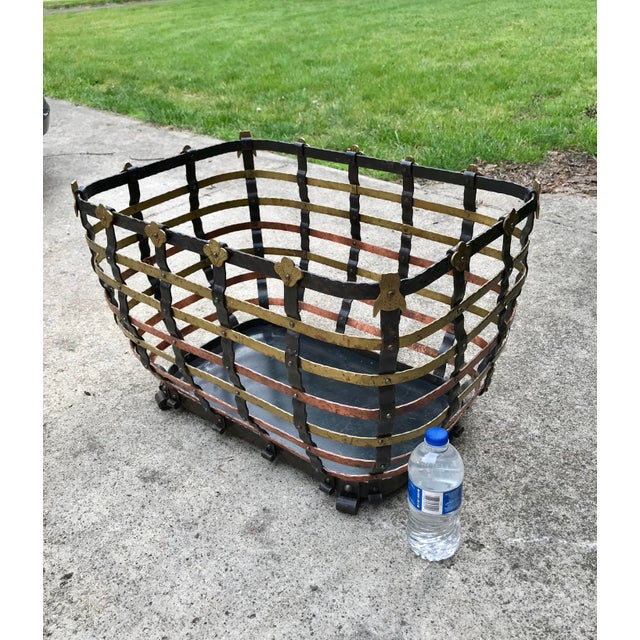 Vintage Mid Century Antonio Vignola Italy Storage / Fire Wood Basket For Sale - Image 12 of 13