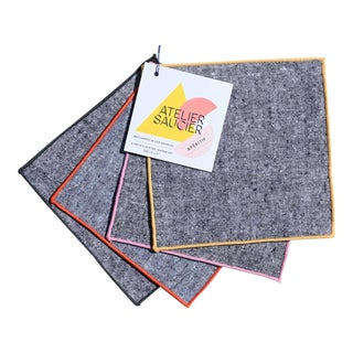 Rainbow Chambray Cocktail Napkins - Set of 4 For Sale
