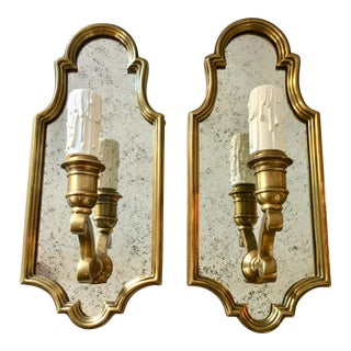 Hollywood Regency Style Sussex Mirrored Brass Wall Sconce - a Pair For Sale