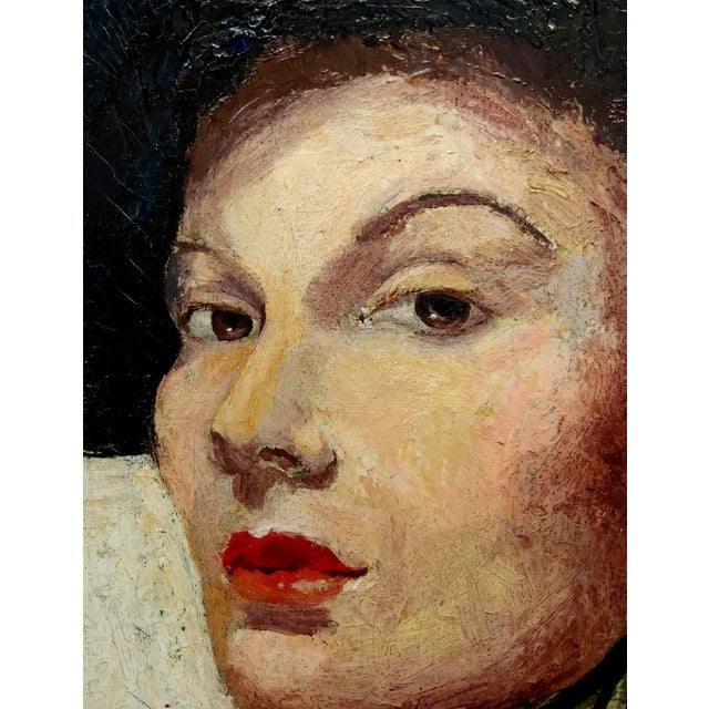 1960s C. Dexter Portrait of a Stylish Woman With Black Hat Oil Painting For Sale - Image 5 of 9