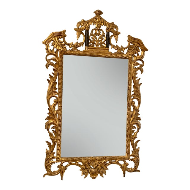18th Century Chinoiserie Style Gold Framed Mirror For Sale