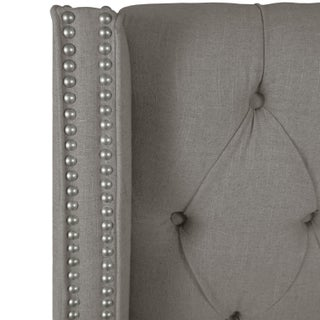 Linen Grey California King Nail Button Tufted Wingback Bed Preview