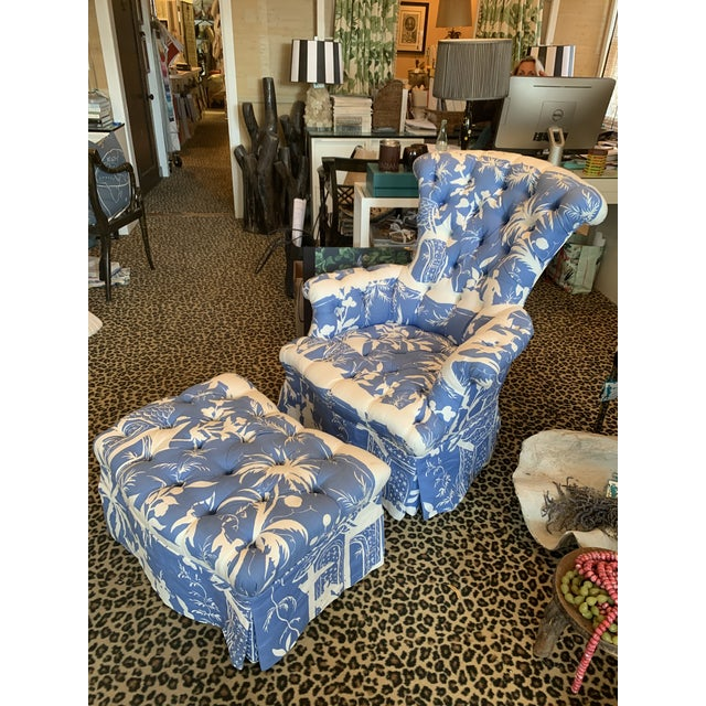 Vintage Napoleon 3rd tufted chair with a newly made custom ottoman to match.