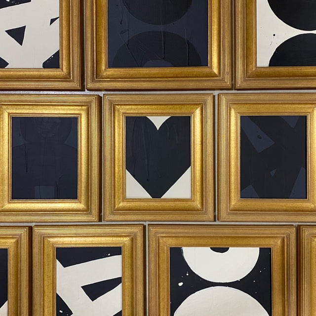 Abstract Ron Giusti Mini Heart Cream Black 2 Acrylic Painting For Sale - Image 3 of 4