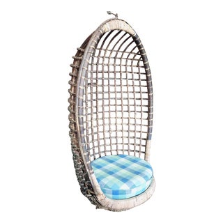Vintage 1970s Rattan Hanging Egg Chair For Sale