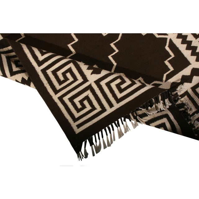 2010s Contemporary Flat Weave Rug Brown and Beige Transitional Kilim Rug For Sale - Image 5 of 6