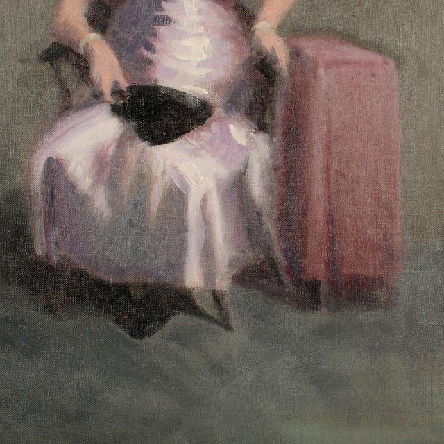 """Mid 20th Century """"Violet Madame"""" Portrait Oil Painting by A. Nichols For Sale - Image 4 of 7"""
