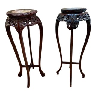 Rosewood Carved Marble Top High Pedestal Tables - a Pair For Sale