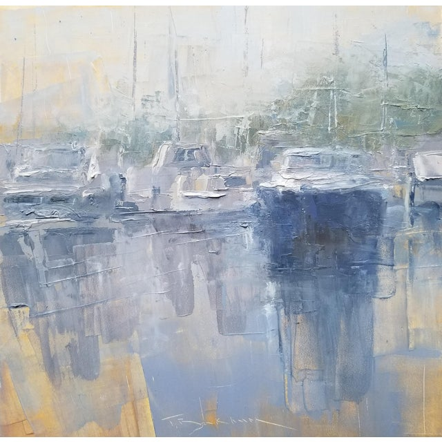 "Beckham Framed Oil Painting ""Hazy Morning"", Contemporary Blue Seascape For Sale"