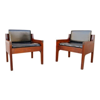 Vintage Mid Century Walnut Chairs- A Pair For Sale
