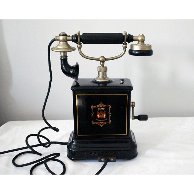 Early 20th Century Antique Danish Hand Crank Telephone For Sale - Image 4 of 11