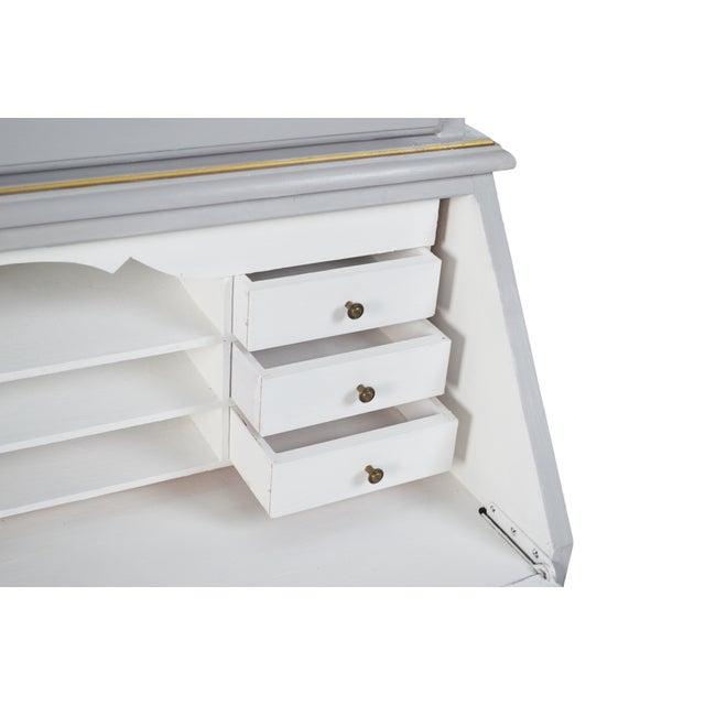 French-Style Grey Secretary Desk with Shelving - Image 6 of 6