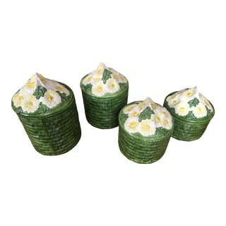 1950s Vintage Green Ceramic Basket Weave Daisy Motif Canisters - Set of 4 For Sale