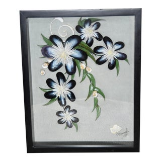 Shadow Box With Shell Flower Art by Meryl Mote, Signed For Sale