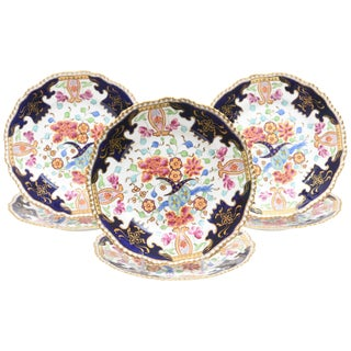 Six Antique English Imari Plates, Vibrant Colors, Hand Painted For Sale