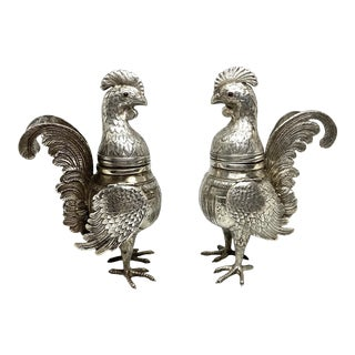 Mid 19th Century Silver Judaic Rooster Spice Canisters - a Pair For Sale