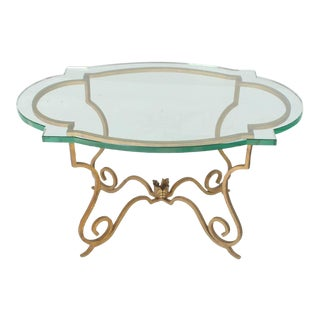 Forged Gold Gilt Iron Base Figural Glass Oval Side Occasional Table For Sale